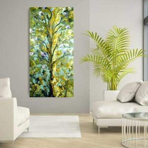 48x24 Mixed Media Painting Abstract Landscape